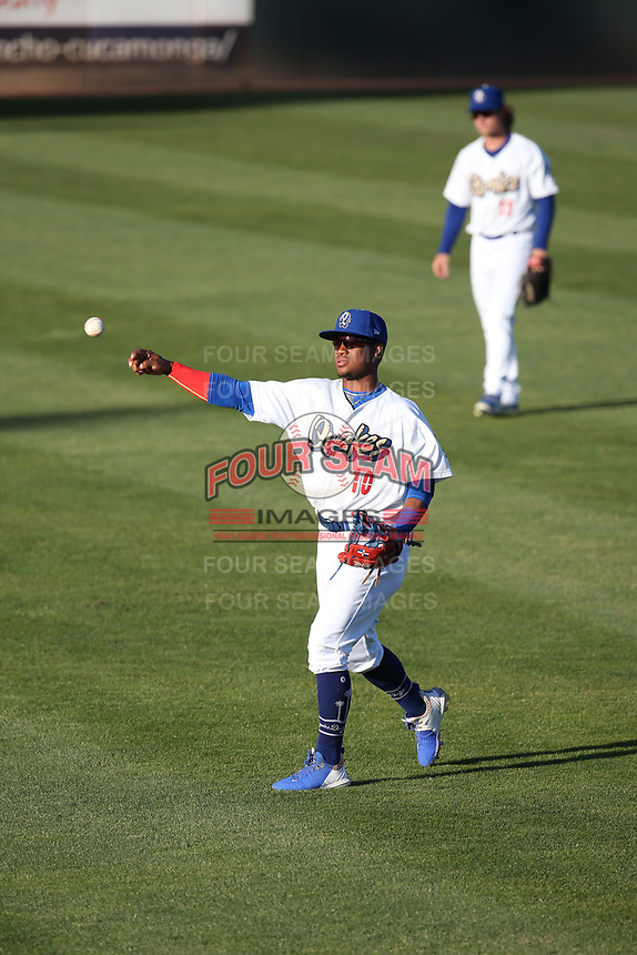 Eddys Leonard (10) of the Rancho Cucamonga Quakes throws before a game against the Stockton Ports at LoanMart Field on May 26, 2021 in Rancho Cucamonga, California. (Larry Goren/Four Seam Images)