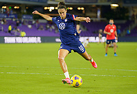 ORLANDO CITY, FL - FEBRUARY 18: Carli Lloyd #10 of the United States warming up during a game between Canada and USWNT at Exploria Stadium on February 18, 2021 in Orlando City, Florida.