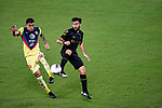 Diego Rossi of Los Angeles FC (USA) in action against Luis Reyes of Club America (MEX) during their CONCACAF Champions League Semi Finals match at the Orlando's Exploria Stadium on 19 December 2020, in Florida, USA. Photo by Victor Fraile / Power Sport Images