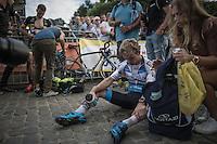 an exhausted Eli Yserbyt (BEL/U23/Marlux-Napoleon Games) after finishing<br /> <br /> Brico-cross Geraardsbergen 2016<br /> U23 + Elite Mens race