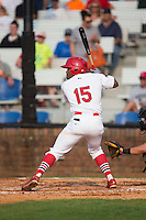Malik Collymore (15) of the Johnson City Cardinals at bat against the Bristol Pirates at Howard Johnson Field at Cardinal Park on July 6, 2015 in Johnson City, Tennessee.  The Pirates defeated the Cardinals 2-0 in game one of a double-header. (Brian Westerholt/Four Seam Images)