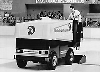 This one safe: The Zamboni used to clear ice at Maple Leaf Gardens is safe; but other ice-cleaning machines used in Canada - such as tractors - may be dangerous; emitting high levels of carbon monoxide.<br /> <br /> Photo : Boris Spremo - Toronto Star archives - AQP