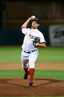 Scottsdale Scorpions pitcher Kyle Martin (44) delivers a pitch during an Arizona Fall League game against the Mesa Solar Sox on October 20, 2015 at Scottsdale Stadium in Scottsdale, Arizona.  Mesa defeated Scottsdale 5-4.  (Mike Janes/Four Seam Images)