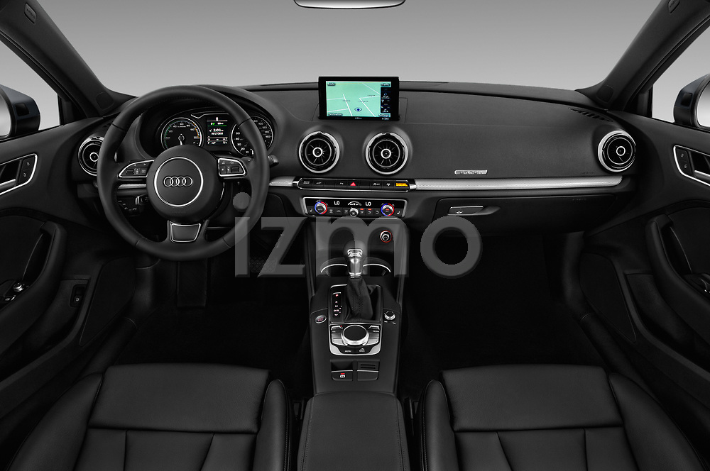Stock photo of straight dashboard view of 2016 Audi A3  Sportback e tron 1.4T S tronic Premium Plus  5 Door Hatchback