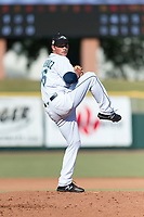 Peoria Javelinas pitcher Anthony Misiewicz (56), of the Seattle Mariners organization, delivers a pitch during the Arizona Fall League Championship game against the Salt River Rafters at Scottsdale Stadium on November 17, 2018 in Scottsdale, Arizona. Peoria defeated Salt River 3-2 in 10 innings. (Zachary Lucy/Four Seam Images)