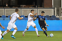 SAN JOSE, CA - OCTOBER 03: Cristian Espinoza #10 of the San Jose Earthquakes is defended by Joe Corona #15 of the Los Angeles Galaxy during a game between Los Angeles Galaxy and San Jose Earthquakes at Earthquakes Stadium on October 03, 2020 in San Jose, California.