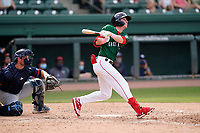Third baseman Nick Sogard (11) of the Greenville Drive during a game against the Bowling Green Hot Rods on Sunday, May 9, 2021, at Fluor Field at the West End in Greenville, South Carolina. The catcher is Erik Ostberg (21). (Tom Priddy/Four Seam Images)