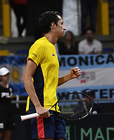 BOGOTA-COLOMBIA, 06-03-2020: Daniel Galan de Colombia celebra el punto ganado a Leandro Mayer de Argentina, durante partido de la Copa Davis entre los equipos de Colombia y Argentina, partidos por el ascenso al Grupo Mundial de Copa Davis por BNP Paribas, en la Plaza de Toros La Santamaria en la ciudad de Bogota. / Daniel Galan of Colombia celebrates the winer point to Leandro Mayer of Argentina,  during a Davis Cup match between the teams of Colombia and Argentina, match promoted to the World Group Davis Cup by BNP Paribas, at the La Santamaria Ring Bull in Bogota city. / Photo: VizzorImage / Luis Ramirez / Staff.