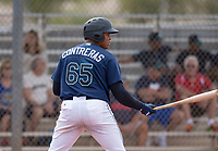 Seattle Mariners first baseman Danny Contreras (65) during a Minor League Spring Training game against the San Diego Padres at Peoria Sports Complex on March 24, 2018 in Peoria, Arizona. (Zachary Lucy/Four Seam Images)