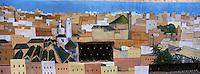 Afrique/Maghreb/Maroc/Fès : Dans la médina mur peint représentant la médina de Fèz et ses mosquées