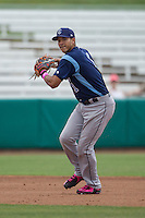 Corpus Christi Hooks shortstop Carlos Correa (1) prepares to make a throw to first base during the Texas League baseball game against the San Antonio Missions on May 10, 2015 at Nelson Wolff Stadium in San Antonio, Texas. The Missions defeated the Hooks 6-5. (Andrew Woolley/Four Seam Images)