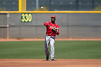 Cincinnati Reds shortstop Darnell Sweeney (76) during a Minor League Spring Training game against the Chicago White Sox at the Cincinnati Reds Training Complex on March 28, 2018 in Goodyear, Arizona. (Zachary Lucy/Four Seam Images)
