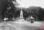 Waterbury Soldier's Monument on the Gree, 1888. This is considered one of the few Civil War Memorials to represent the theme of a united nation arising form the tragic war between the states. It was dedicated on 23 October 1884 and was created by George E. Bissell, a Waterbury native.
