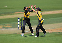 Maneka Singh celebrates dismissing Missy Banks during the Dream11 Super Smash T20 women's cricket final between Wellington Blaze and Canterbury Magicians at the Basin Reserve in Wellington, New Zealand on Saturday, 13 February 2021. Photo: Dave Lintott / lintottphoto.co.nz