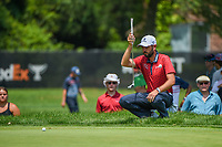 4th July 2021, Detroit, MI, USA;  Troy Merritt (USA) lines up his birdie putt on 1 during the Rocket Mortgage Classic Rd4 at Detroit Golf Club on July 4,