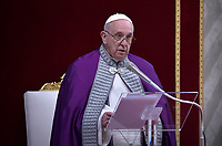 Pope Francis  during the penitential celebration in St. Peter's Basilica at the Vatican, March 29, 2019