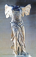 Greek Art:  Victoire de Samothrace-- Winged Victory of Samothrace, also called the Nike of Samothrace,  is a 2nd century BC marble sculpture of the Greek goddess Nike (Victory).  Louvre.