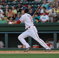 Third baseman Garin Cecchini (17) of the Greenville Drive in a game against the Lexington Legends on May 2, 2012, at Fluor Field at the West End in Greenville, South Carolina. Ceccini is the No. 7 prospect for the Boston Red Sox, according to Baseball America. Lexington won, 4-2. (Tom Priddy/Four Seam Images).