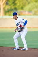 AZL Dodgers second baseman Marcus Chiu (14) on defense against the AZL Brewers on July 25, 2017 at Camelback Ranch in Glendale, Arizona. AZL Dodgers defeated the AZL Brewers 8-3. (Zachary Lucy/Four Seam Images)