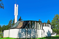 Church of the Three Crosses (Kolmen Ristin kirkko in Finnish) in Imatra, Finland. The church has been designed by architect Alvar Aalto, and it has been built in 1957–1958.