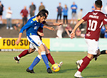 Arbroath v St Johnstone…21.07.21  Gayfield Park<br />Murray Davidson battles with Michael McKenna<br />Picture by Graeme Hart.<br />Copyright Perthshire Picture Agency<br />Tel: 01738 623350  Mobile: 07990 594431