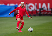 CARSON, CA - FEBRUARY 9: Adriana Leon #19 of Canada warming up during a game between Canada and USWNT at Dignity Health Sports Park on February 9, 2020 in Carson, California.