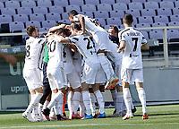 Alvaro Morata of Juventus celebrates after  scores during the  italian serie a soccer match,Fiorentina - Juventus at  theStadio Franchi in  Florence Italy ,