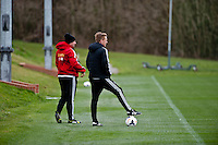 Thursday 20 March 2014<br /> Pictured: Garry Monk, Manager of Swansea City with Kris O'Leary <br /> Re: Swansea City Training at their Fairwood training facility, Swansea, Wales,UK