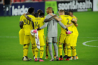 WASHINGTON, DC - OCTOBER 28: Columbus Crew SC getting in the huddle during a game between Columbus Crew and D.C. United at Audi Field on October 28, 2020 in Washington, DC.