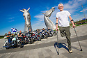Dr Bob Grant, who lost his leg to cancer, is joined by riders from the Harley Davidson Dunedin Chapter, as he launches the fundraising drive for his 117-mile walk for Maggie's at the Kelpies......<br /> <br /> Dr Bob's walk will start on Saturday 13 June at the Kelpies. Walking for nine continuous days, joined by groups of friends and supporters along the way, Bob will arrive at Maggie's Dundee on Sunday 21 June. On the final day of his walk, Dr Bob will be joined by up to 100 riders from Harley Davidson Dunedin Chapters throughout Scotland..... <br /> <br /> (See Press release from Helen Harris, Maggies PR Officer Scotland. T: 0141 225 0082. M: 07769145260)