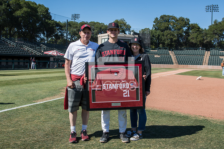 STANFORD, CA - MAY 29: Tim Tawa and family after a game between Oregon State University and Stanford Baseball at Sunken Diamond on May 29, 2021 in Stanford, California.