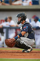 Jacksonville Jumbo Shrimp catcher Sharif Othman (17) during a game against the Pensacola Blue Wahoos on August 15, 2018 at Blue Wahoos Stadium in Pensacola, Florida.  Jacksonville defeated Pensacola 9-2.  (Mike Janes/Four Seam Images)