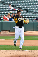 Luis Jimenez (7) of the Salt Lake Bees during the game against the Memphis Redbirds at Smith's Ballpark on June 18, 2014 in Salt Lake City, Utah.  (Stephen Smith/Four Seam Images)