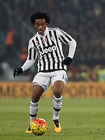 Juventus' Juan Cuadrado in action during the Italian Serie A football match between Juventus and Roma at Juventus Stadium.