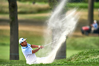OLYMPIA FIELDS, IL - AUGUST 30: Hideki Matsuyama of Japan hits his second shot out of a bunker on the 11th hole during the final round of the BMW Championship on the (North) Course at Olympia Fields Country Club