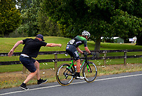 Shane Archbold gets started again after a repair. Stage Four - Te Piki - The Climb. 2019 Grassroots Trust NZ Cycle Classic UCI 2.2 Tour from Cambridge, New Zealand on Saturday, 26 January 2019. Photo: Dave Lintott / lintottphoto.co.nz