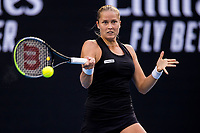 16th February 2021, Melbourne, Victoria, Australia; Shelby Rogers of the United States of America returns the ball during round 4 of the 2021 Australian Open on February 15 2021, at Melbourne Park in Melbourne, Australia.