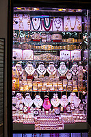 Fes, Morocco.  Jewelry Store Window.  Rings, Bracelets, Necklaces, Emeralds, Silver and Gold.