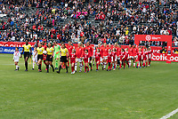 CARSON, CA - FEBRUARY 9: The USWNT walks out onto the field during a game between Canada and USWNT at Dignity Health Sports Park on February 9, 2020 in Carson, California.