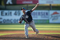 Asheville Tourists relief pitcher Jerry Vasto (28) in action against the Kannapolis Intimidators at Intimidators Stadium on June 28, 2015 in Kannapolis, North Carolina.  The Tourists defeated the Intimidators 6-4.  (Brian Westerholt/Four Seam Images)
