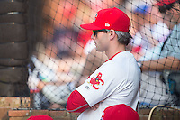 Johnson City Cardinals manager Chris Swauger (8) watches the action from the dugout during the game against the Bristol Pirates at Howard Johnson Field at Cardinal Park on July 6, 2015 in Johnson City, Tennessee.  The Pirates defeated the Cardinals 2-0 in game one of a double-header. (Brian Westerholt/Four Seam Images)