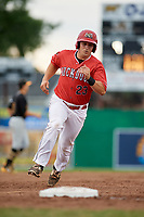 Batavia Muckdogs first baseman J.D. Osborne (23) runs the bases during a game against the West Virginia Black Bears on June 19, 2018 at Dwyer Stadium in Batavia, New York.  West Virginia defeated Batavia 7-6.  (Mike Janes/Four Seam Images)