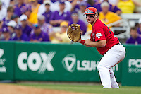 Stony Brook Seawolves first baseman Kevin Courtney #25 on defense during the NCAA Super Regional baseball game against LSU on June 9, 2012 at Alex Box Stadium in Baton Rouge, Louisiana. Stony Brook defeated LSU 3-1. (Andrew Woolley/Four Seam Images)