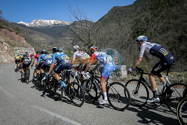 The peloton on La Colmaine during Stage 7 of Paris-Nice 2021, running 119.2km from Le Broc to Valdeblore La Colmiane, France. 13th March 2021.<br /> Picture: ASO/Fabien Boukla | Cyclefile<br /> <br /> All photos usage must carry mandatory copyright credit (© Cyclefile | ASO/Fabien Boukla)