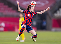 KASHIMA, JAPAN - AUGUST 5: Rose Lavelle #16 of the USWNT heads the ball during a game between Australia and USWNT at Kashima Soccer Stadium on August 5, 2021 in Kashima, Japan.