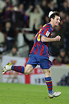 Football Season 2009-2010. Barcelona's player Lionel Messi celebrates his goal during their spanish liga soccer match at Camp Nou stadium in Barcelona. January 16, 2010.