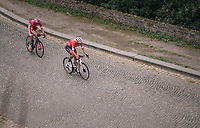 race leaders Jasper Stuyven (BEL/Trek-Segafredo) & Dimitri Claeys (BEL/Cofidis) in the finale up the Citadelle de Namur <br /> <br /> 59th Grand Prix de Wallonie 2018 <br /> 1 Day Race from Blegny to Citadelle de Namur (BEL / 206km)