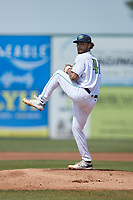 Lynchburg Hillcats starting pitcher Lenny Torres (41) in action against the Myrtle Beach Pelicans at Bank of the James Stadium on May 23, 2021 in Lynchburg, Virginia. (Brian Westerholt/Four Seam Images)