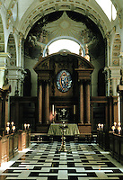 Sir Christopher Wren: St. Bride's, Fleet St. 1670-1684. Restored after WWII. Altar. Nave of 5 Tuscan bays surmounted by tunnel vault.
