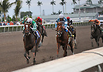 30 January 2009: Capt. Candyman Can (no. 3 on left), with Julien Leparoux in the saddle, wins the 53rd running of the Grade 2 Hutcheson Stakes for three-year-olds over Hello Broadway at Gulfstream Park in Hallandale, Florida.